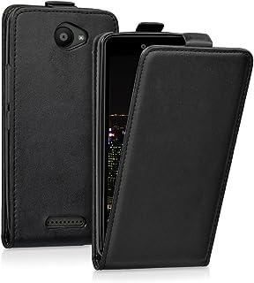 comprar comparacion kwmobile Funda Compatible con bq Aquaris U - Carcasa para móvil de Cuero sintético - Case en Negro