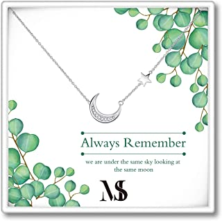 SOULMEET Sterling Silver Moon Necklace Gifts for Birthday Long Distance Relationships, Women Jewelry Gifts for Mother`s Day Christmas Friendship