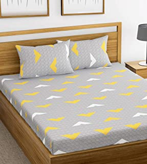 HUESLAND by Ahmedabad Cotton 144 TC Cotton Double Bedsheet with 2 Pillow Covers - Grey and Yellow