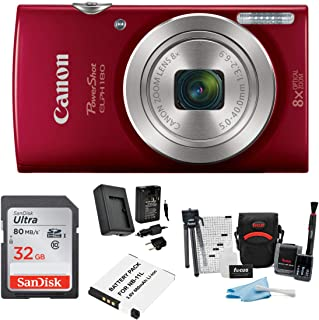 Canon PowerShot ELPH 180 20 MP Digital Camera (Red) +...