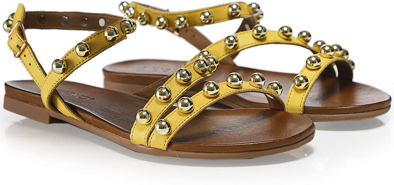 Inuovo Women's Leather Studded Sandals Yellow