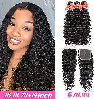 Deep Wave Bundles with Closure(16 18 20 +14) 9A Brazilian Human Hair Bundles Deep Curly Wave Bundles, 100% Unprocessed Virgin Human Hair Extensions Bundles with Closure 4x4 Free Part Natural Black