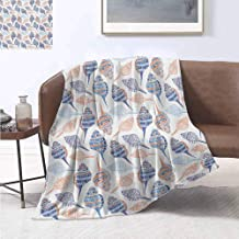 jecycleus Ocean Rugged or Durable Camping Blanket Marine Life Themed Abstract Seashells Scallops with Bohemic Prints Warm and Washable W55 by L55 Inch Marigold Navy Blue and Blue
