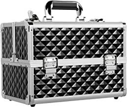 Yaheetech Makeup/Train/Cosmetic Case/Trolley/Suitcase/Box with Adjustable Dividers Black