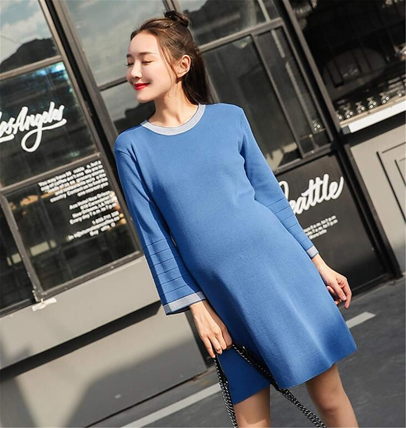 Maternity Wrap Dress, Simple bluee Sweater Back Openwork Bow Long Sleeve Maternity Dress