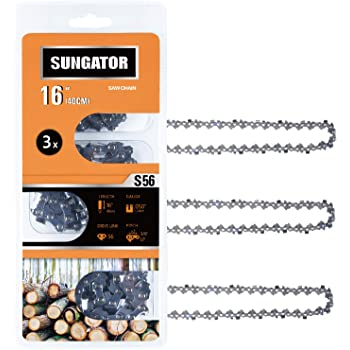 """SUNGATOR 3-Pack 16 Inch Chainsaw Chain SG-S56, 3/8"""" LP Pitch - .050"""" Gauge - 56 Drive Links, Compatible with Echo, Homelite, Poulan, Remington, Greenworks"""
