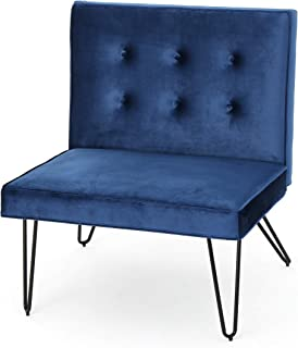 Christopher Knight Home 300807 DuSoleil Velvet Mid Century Modern Armless Hair Pin Leg Chair (Navy Blue)