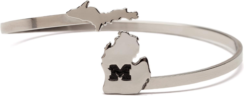 University of Michigan | UM Stainless Steel Michigan Map Bangle
