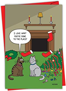 NobleWorks Cat Christmas Decor - Merry Christmas Greeting Card with Envelope (4.63 x 6.75 Inch) - Show Your Host How Much ...