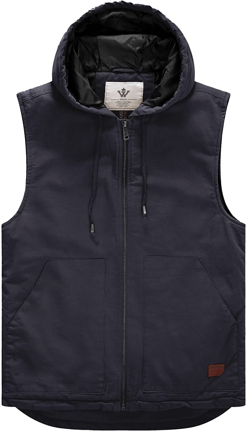 WenVen Men's Quilted Lined Multi Pockets Casual Vest with Hood
