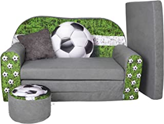 LIT Enfant FAUTEUILS CANAPÉ Sofa + Pouf ET Coussin Football W319_03
