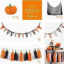 Pack Ahorro Kit Completo Decoraci/ón Halloween - Contiene 2 guirnaldas, Cortina Metalizada Foil Naranja y l/ámparas de Papel con Print Horeca Collection