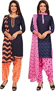 S Salwar Studio Women's Pack of 2 Synthetic Printed Unstitched Dress Material Combo-MONSOON-2868-2883