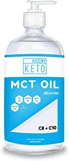 Kiss My Keto MCT Oil - Derived Only from Non-GMO Coconut Oil, 32 oz Glass Bottle w/Pump, Convert Energy Into Ketones, Caprylic Acid for Ketogenic, Paleo, Vegan Diets, Enhance Performance and Ketosis