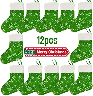 Glossrise Christmas Holiday Stockings Christmas Hanging Bags 12PCS Red Felt Xmas Tree Decorations Santa Sock Sack Gift Bag for Tree Decoration Christmas Ornament