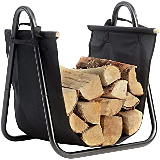 Fireplace Log Holder with Canvas Tote Carrier Indoor Fire Wood Rack Black Firewood Storage Holders Log Bin Heavy Duty Fire Logs Stacker Basket with Handles Kindling Wood Stove Accessories (Renewed)
