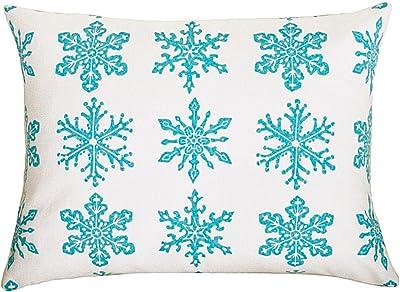artgoodies Snowflake Block Print Accent Pillow, Blue