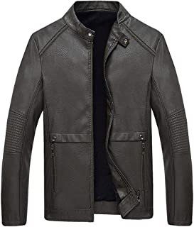 wuliLINL Solid Color Jacket for Men,Long Sleeve Casual Winter Cardigan Coat Faux Leather Windbreaker Plus Size Coats Tops