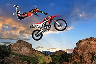 Freestyle Motocross Rider Performing Stunt on Motorcycle Photo Photograph Cool Wall Decor Art Print Poster 36x24