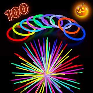 Glow Sticks Bulk Party Supplies - Light Stick Bracelets - Extra Bright Glow in The Dark Party Favors - 8 Inch Bracelet Strong 6mm Thick - 9 Vibrant Neon Colors - Stuffers for Kids - Mix (100 pieces)