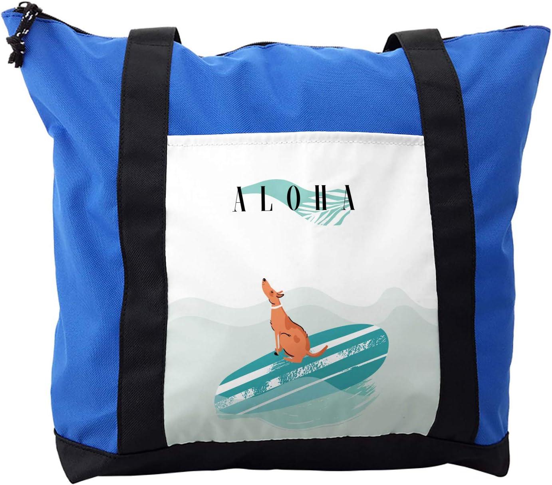 Lunarable Saying Shoulder Bag, Surfer Dog in the Ocean, Durable with Zipper