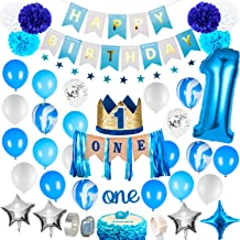 1st Birthday Boy Decorations - Baby Boy 1st birthday Party supplies blue decorations 67PCS with 1st Birthday Baby Crown, O...