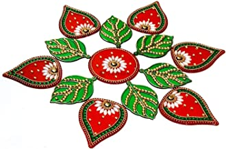 Archies® Acrylic Leaf Rangoli with Red and Green Color and Decorative Stones for Diwali Festival, Grah Pravesh, Home Décor Gift
