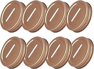 TACKTIMES 8pcs Polished Rust Resistant Coin Slot Bank Lid Inserts for Mason Jar Canning Jar, 70mm Regular Mouth Canning Li...