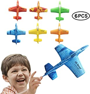 """US Sense Airplane Battle Plane Toy for Kids, 6 Pack 7"""" Throwing Foam Airplane Flying Aircraft Plane DIY Glider Aeroplane Model Jet Kit Flying Toys for Boys Girls Teens, Outdoor Sport Game Toys"""