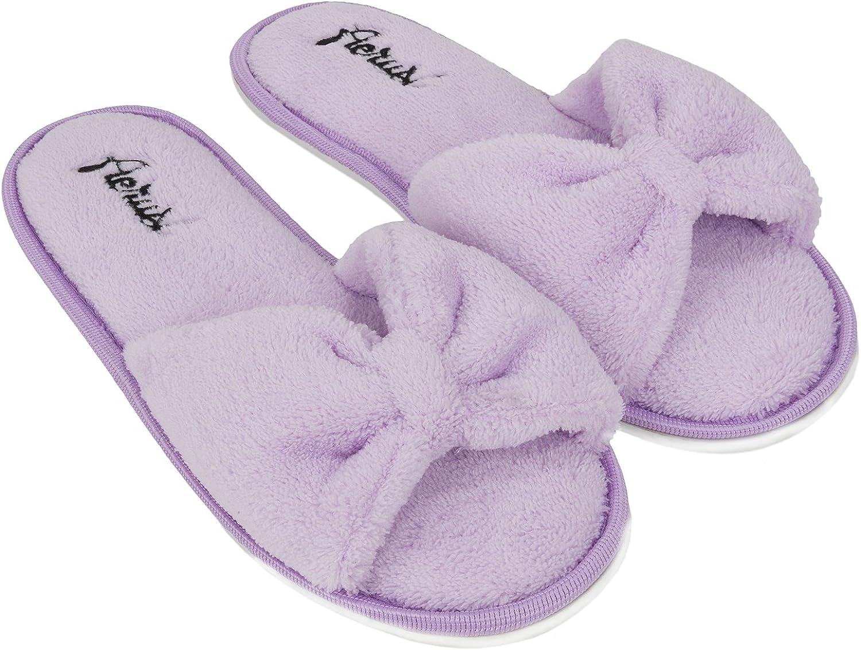 Aerusi SEL004042 Women's Indoor Home Bedroom Single Pair Slippers, USA Size 11 European Size 42, Purple