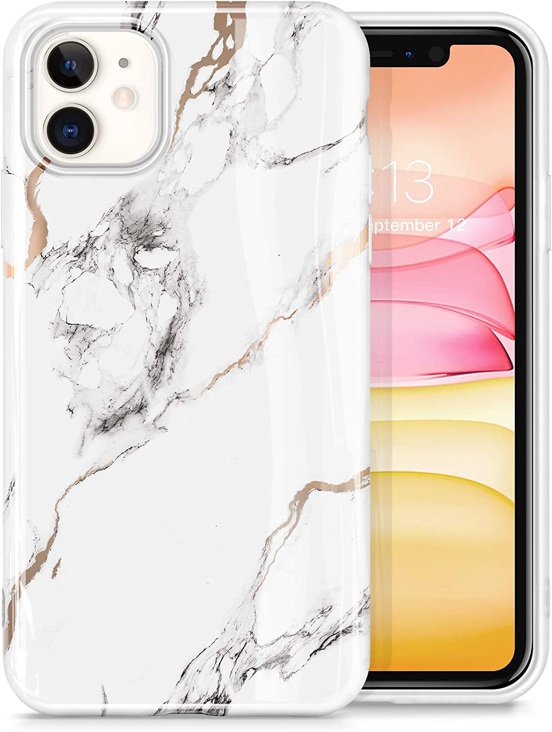 GVIEWIN Marble Compatible with iPhone 11 Case, Ultra Slim Thin Glossy Soft TPU Rubber Gel Phone Case Cover Compatible with iPhone 11 6.1 Inch 2019 (White/Gold)