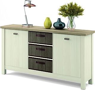 Mueble aparador Artik en Colores Cambrian y Pino con 3 cestas de bambú integradas con 86 cm de Alto 160 cm de Ancho y 41 ...