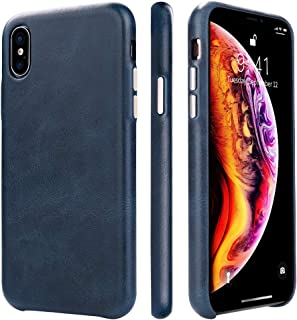TOOVREN iPhone Xs Max Case Leather Protective iPhone Xs Max Case Genuine Leather Ultra Slim Vintage Designer Shell Back Cover for Apple iPhone Xs Max 6.5'' (2018) Blue