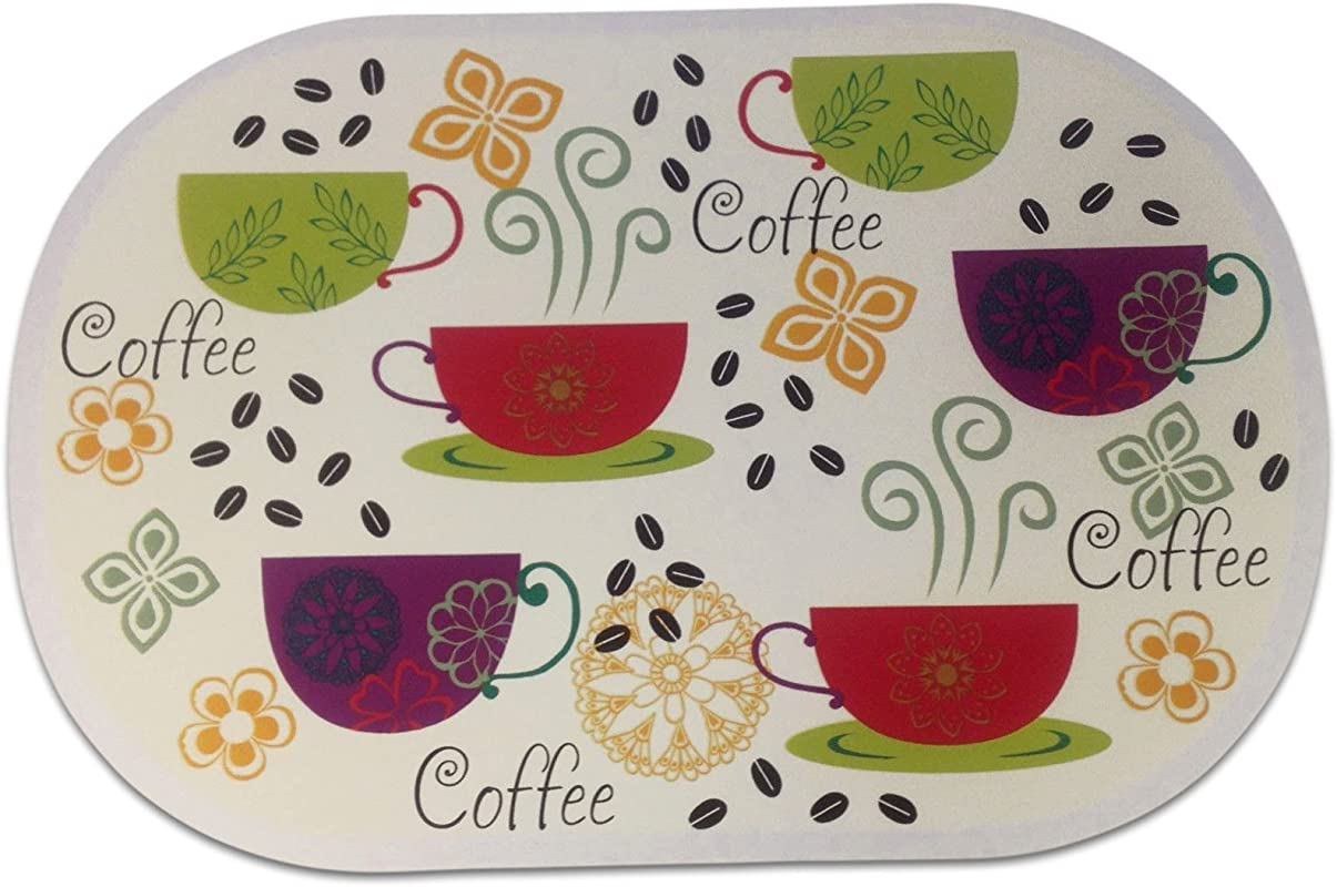 Unique Custom 12 X 18 Inch Set Pack Of 6 Oval Flat Smooth Texture Large Table Placemats Made Of Flexible Vinyl W Coffee Cup Text Beans Cafe Design Colorful Green Tan Purple Red