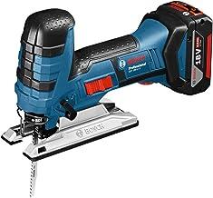 Bosch GST 18V-LI S Professional - Sierra de calar a batería, 2 baterías x 4.0 Ah, cargador rápido, L-BOXX (18 V, profundidad de corte en madera 120 mm)