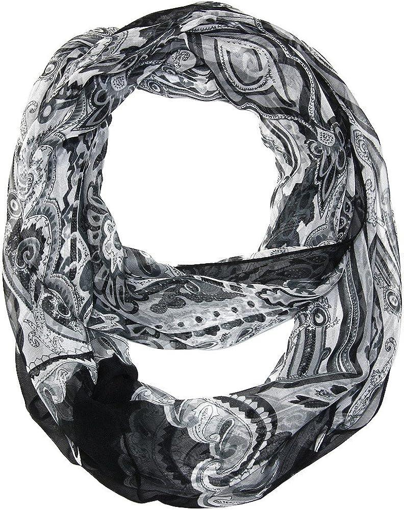 Silk Feel Infinity Scarf - Paisley Print - Black, White, Gray