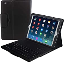 Eoso Keyboard Case for Apple iPad 2/3/4 Folding Leather Folio Cover with Removable Bluetooth Keyboard for iPad 2/3/4 Tablet (Black)