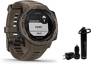 Garmin Instinct Rugged GPS Watch and Wearable4U Ultimate Power Pack Bundle (Tactical Coyote Tan)