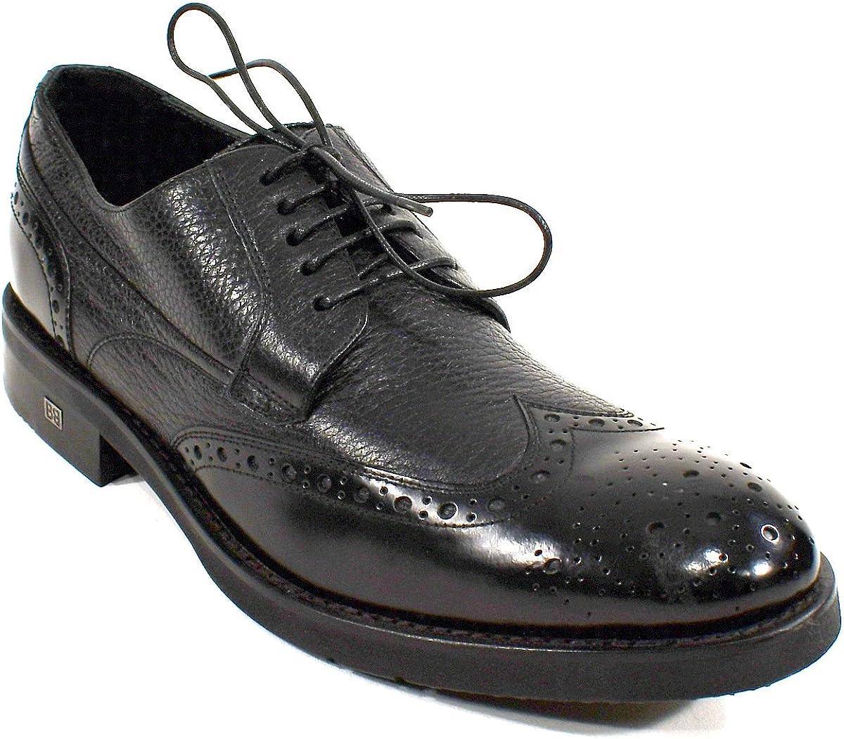 Baldinini Man's Black Leather Oxford Shoes