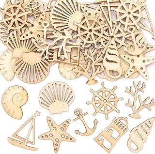 Baker Ross Mini Formas de Madera Vida de Mar AT757 (paquete de 45) para proyectos de arte y manualidades para niños, surtidos