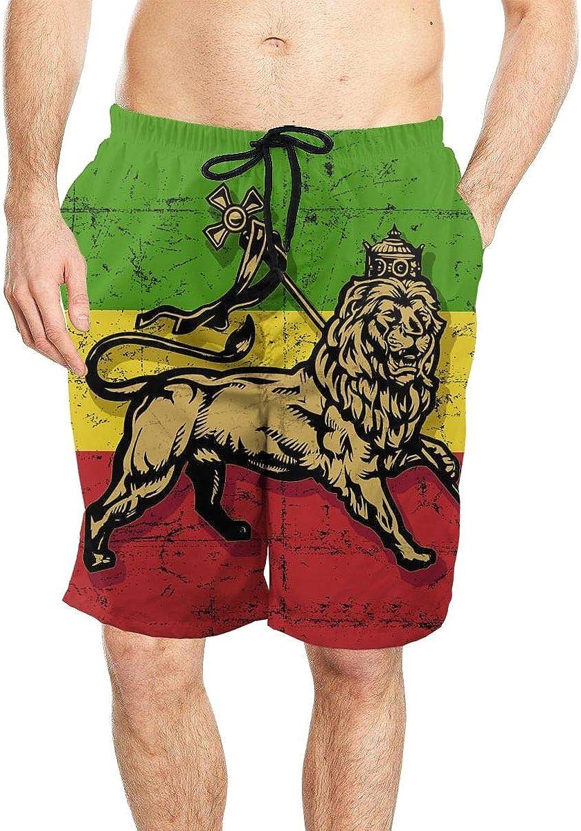 DASMUS Lion of Judah Flag Mens Quick Dry Beach Board Shorts Swim Trunks with Mesh Lining
