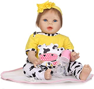 JUNMAO 22 Inch Lifelike Reborn Baby Dolls Girls Handmade Soft Silicone Realistic Newborn Baby Doll with Yellow Cow Clothes & Accessories, Best Gifts and Playmates for Kids Age 3+ (Yellow, 55CM/22'')