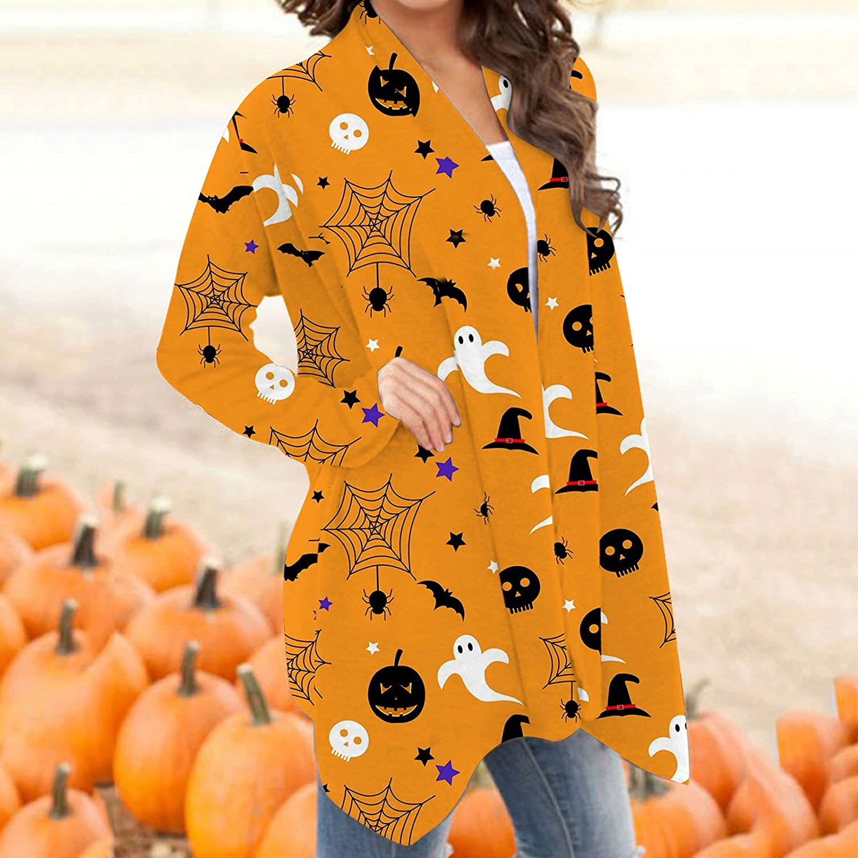 nunonette Open Front Cardigan for Women Long Sleeve Halloween Funny Cute Black Cat Ghost Pumpkin Print Knitted Sweater Jacket