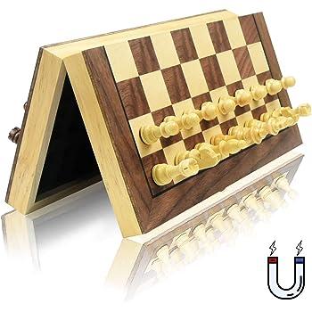 チェスセット 木製 磁石式 国際将棋 日本語の取扱説明書 GYBBER&MUMU 折りたたむボード マグネット 収納可 (29 x 29 cm)