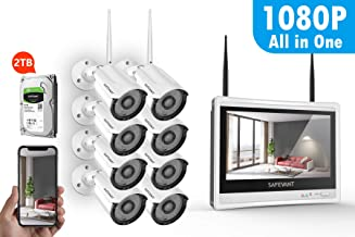 [2TB Hard Drive Pre-Install] 1080P Full HD Security Camera System with Monitor,SAFEVANT All in One Home NVR Systems 8PCS 2.0MP Outdoor Indoor Wireless IP Cameras with Night Vision Motion Detection