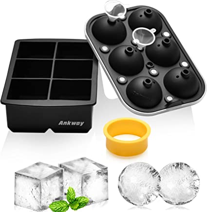 Oferta amazon: Bandejas para cubitos de hielo, juego de moldes de silicona para hielo Ankway de 5cm, máquina de hielo redondo con tapa y molde cuadrado grande para whisky, cóctel(modelo actualizado 2021, negro)