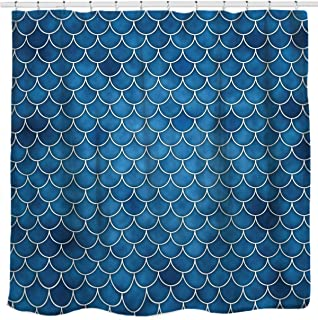 Sunlit Designer Fish Scale Mermaid Tail Geometric Shower Curtain, Water Repellent Fabric. Ocean Theme Fairy Tale Bathroom Décor. Blue