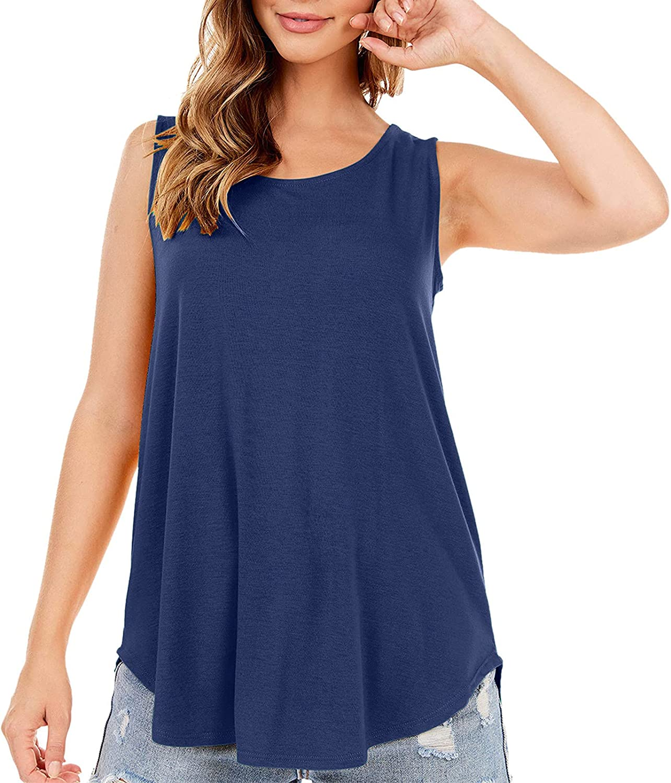 Womens Crewneck Tank Tops Tee Shirts Flowy Swing Blouses Casual Loose Fit Sleeveless Shirts Tunics