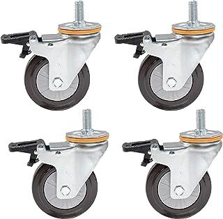 4X Stuurpen zwenkwielen 4 Inch 100 mm rubberen bewegende zwenkwielen Zwaar uitgevoerde roterende wiel voor trolleymeubilai...