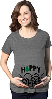 Maternity Happy Camper Tshirt Cute Pregnancy Cool Outdoors Baby Bump Tee